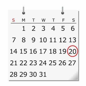 20日に丸がついたカレンダー